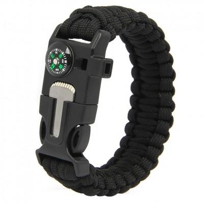 Paracord Survival Bracelet Fire Starter Compass Whistle Outdoor Black Color