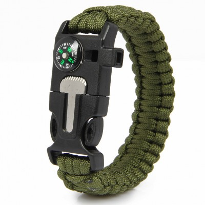 Paracord Survival Bracelet Fire Starter Compass Whistle Outdoor Army Green Color