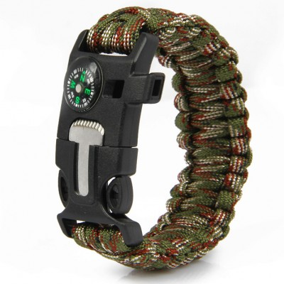 Paracord Survival Bracelet Fire Starter Compass Whistle Outdoor Green Camouflage Color