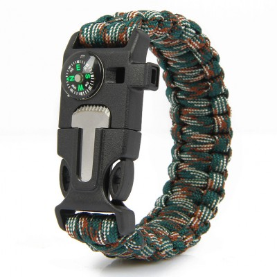 Paracord Survival Bracelet Fire Starter Compass Whistle Outdoor Blue&Camouflage Color