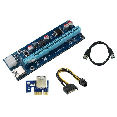 USB 3.0 PCI-E Express 1Xto16X Extension Riser Card Adapter SATA with Power Cable 2017 update version