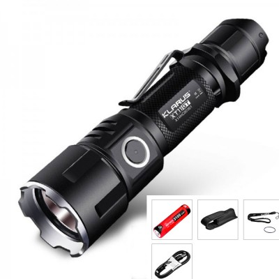 Klarus XT11GT Tactical LED Flashlight,CREE XHP35 HD E4 LED,2000 Lumen,USB Rechargeable, Beam distance 316 meters