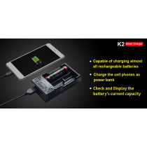 Klarus K2 USB Battery Charger Power Bank with 0.5A/1A Current Optional for Li-ion NiMH NiCd LiFePO4 18650 26650 Battery
